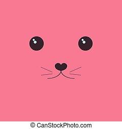 Kawaii the face of a cute animal