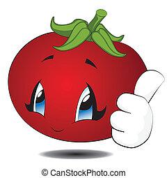 kawaii, tomate, caricatura