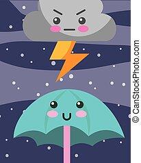kawaii, tonnerre, parapluie, dessin animé, nuage