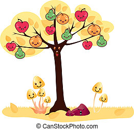 kawaii tree - Is a EPS 10 Illustrator file without...