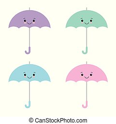kawaii, umbrellas., coloré, illustration, plat, dessin animé, vecteur, mignon, parasol, style.
