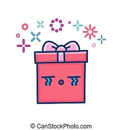 kawaii valentine crying gift box illustration