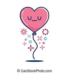 kawaii valentine heart balloon illustration