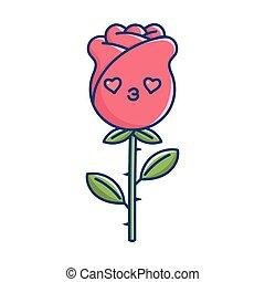 kawaii valentine rose flower illustration