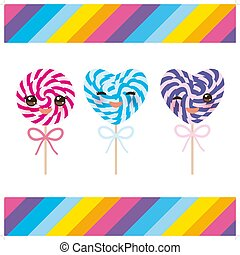 Kawaii Valentine s Day Heart shaped candy lollipops with bow, colorful spiral candy cane with bright rainbow stripes. on stick with twisted design on white background with rainbow stripes. Vector