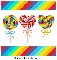 Kawaii Valentine's Day Heart shaped candy lollipops with bow, colorful spiral candy cane with bright rainbow stripes. on stick with twisted design on white background with rainbow stripes. Vector