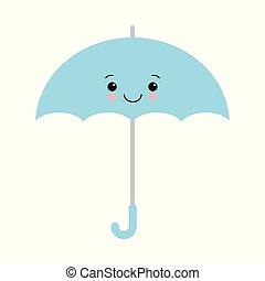 Kawaii Vector Illustration. Cute Blue umbrella icon. Blue umbrella isolated on white background.