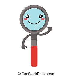 kawaii, verre, sourire, magnifier, dessin animé