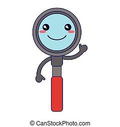 kawaii, vidrio, sonriente, aumentar, caricatura