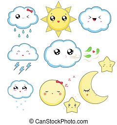 Kawaii weather icons, cute characters isolated on white background