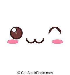 kawaii wink expression icon