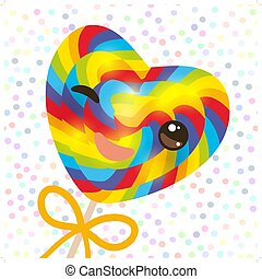 Kawaii with pink cheeks winking eyes, Valentine s Day Heart shaped candy lollipop with bow, bright rainbow stripes, colorful spiral candy cane. white abstract retro polka dot background. Vector