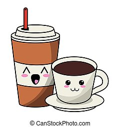 kawaii, xícara café, bebida, gelo, quentes, caricatura