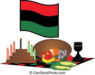 Kawanzaa Celebrations - items used to celebrate Kwanzaa,...