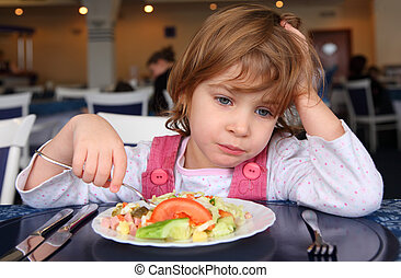 kawiarnia, dziewczyna, za, smutny, stół