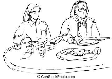 kawiarnia, kobieta jedzenie, pizza obsadzają