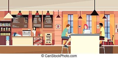 kawiarnia, ludzie, gaworząc, campus, przypadkowy, nowoczesny...