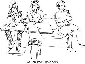 kawiarnia, ludzie, młody, grupa