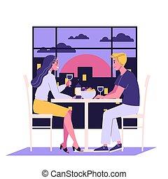 kawiarnia, romantyk, posiadanie, para, data, posiedzenie