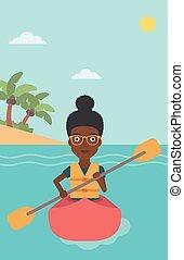 kayak, équitation, femme, illustration., vecteur