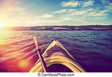 kayak, été, tour