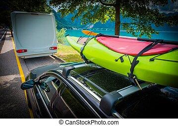 kayak, été, transport, temps