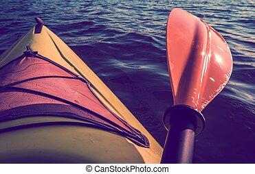 kayak, été, voyage