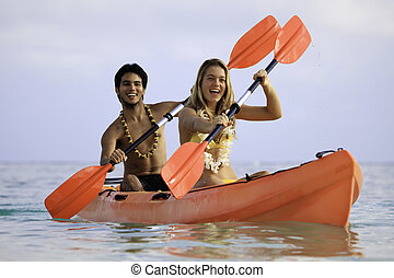 kayak, 他们, 夫妇, 年轻, 夏威夷
