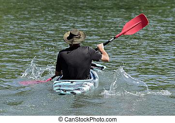 kayak, 划槳, 人