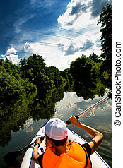kayak, 旅游, 河