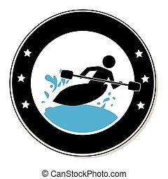kayak, 框架, 人, 圆