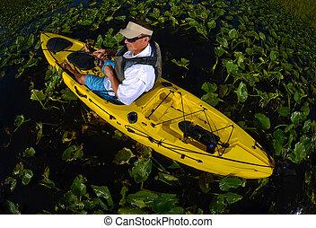 kayak, 百合花, 釣魚, 墊, 人