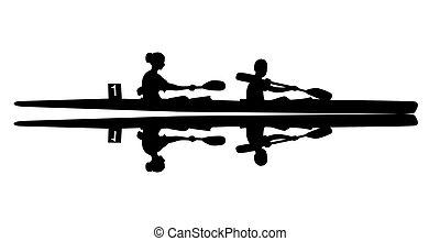 kayak, 矢量, 描述