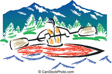 kayak, 矢量, 粉笔
