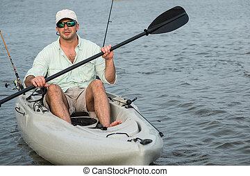 kayak, 釣魚, 人