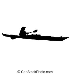 A black silhouette of a woman in a long kayak