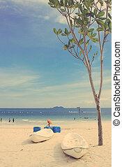 kayak, albero, effetto, filtro, retro, spiaggia