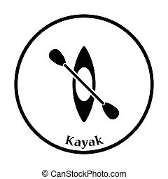 Kayak and paddle icon. Thin circle design. Vector...