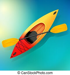 Kayak and paddle Vector on water illustration of Outdoor ...