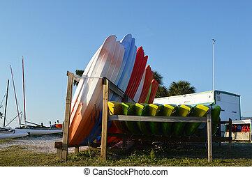 Kayak and Sailboat - This is a photo of kayaks and sailboats...