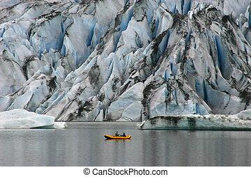 kayak at Glacier - Alaska Glacier and Kayaker