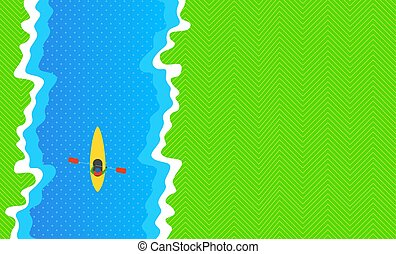 Kayak at the River. View from above. Vector Illustration: Flat Design.