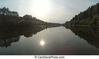 kayak, bas, timelapse, rivière, écoulement