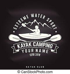 Kayak camping. Vector illustration.