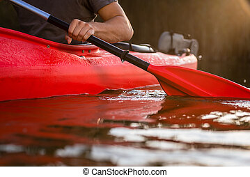 kayak, close-up, remar, homem