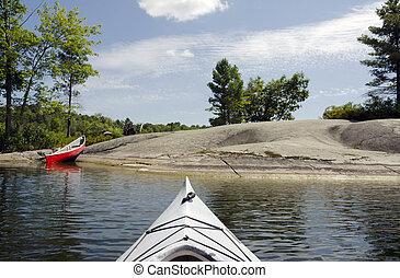 kayak, et, canoë, sur, les, lac