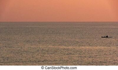 Kayak floating in the sea