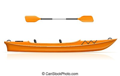 kayak from plastic for fishing and tourism vector illustration