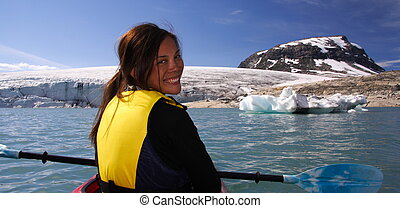 kayak, girl, à, glacier, lac