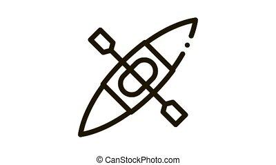 Kayak Icon Animation. black Kayak animated icon on white background